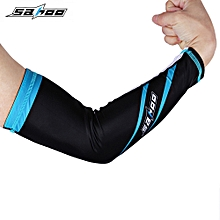 Riding Sports Outdoor UV Protection Cycling Arm Cover L - Blue + Black