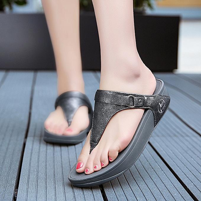 09d8c826c2b3e1 Fashion Women Flip Flops Wedge Cool Sandals Outdoor Beach Slippers ...