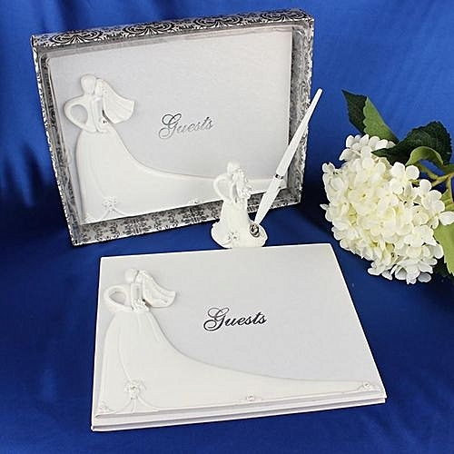 bride and groom white wedding guest book engagement anniversary guestbook album party decor supplies