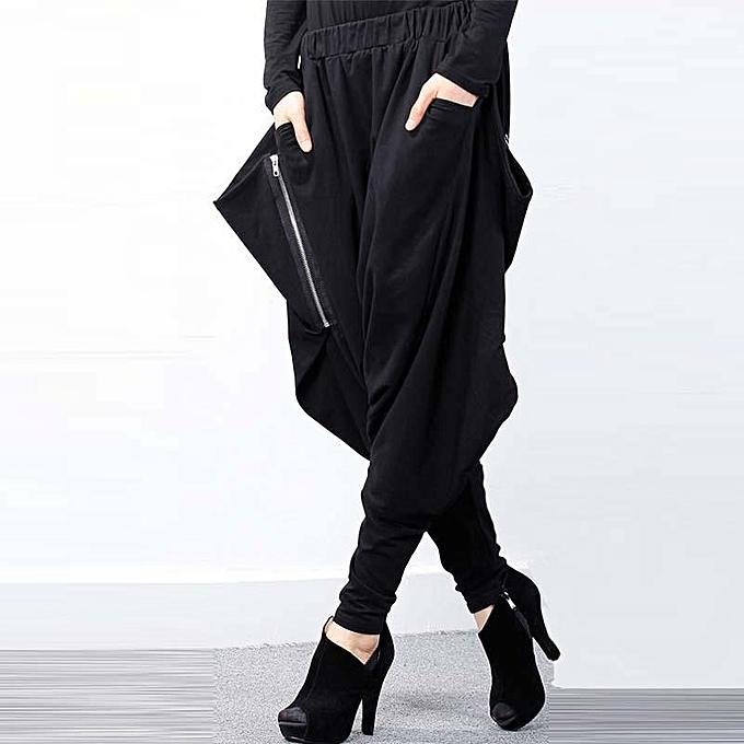 912d477597022 ... ZANZEA Women Elastic Waist Zip Baggy Drop-Crotch Gothic Trousers  Pockets Irregular Hem Long Cross ...