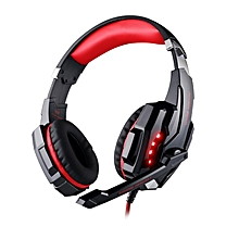 Head-mounted Gaming Headset Single Hole Earphone Headband With Microphone black & blue
