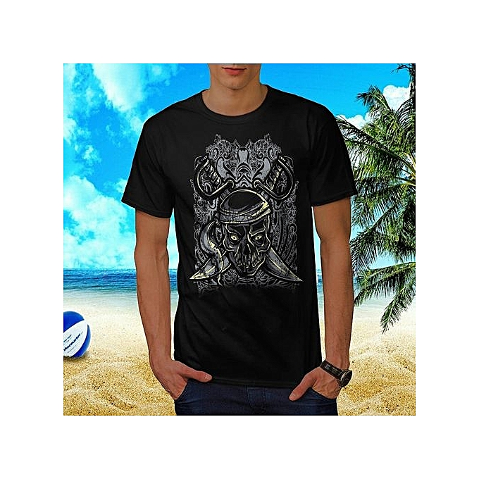 daf5e5fb0b8 Hot Sale Details About Pirate Skull Ghost Sword Battle Premium Men Summer  Cotton Crew Neck T