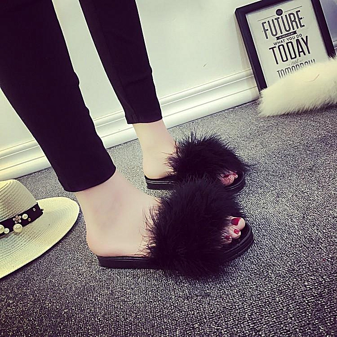 3b03279c94df ... Women s Fur Fluffy Slippers Slides Mules Sandals Feather Home Open Toe  Shoes black ...