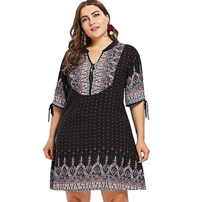 b349029b691 Generic Fashion Leadsmart Plus Size Ethnic Button Embellished Dress ...
