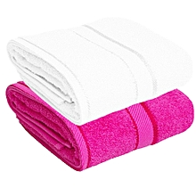 For Her & For Him Couples Bath Towel Set of 2 - 100% Premium Cotton  -  White & Pink.