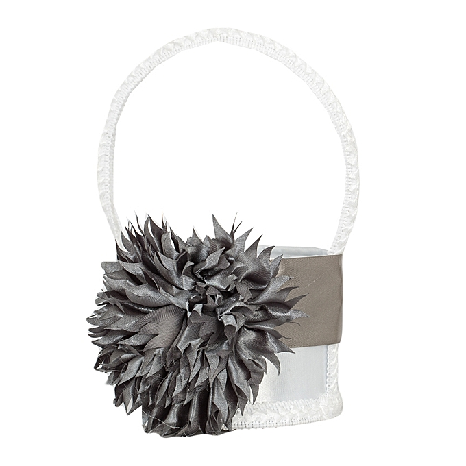 Buy generic grey charcoal flower and ribbon decoration on white grey charcoal flower and ribbon decoration on white flower girls basket mightylinksfo
