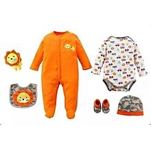 6 Piece set Baby Set  - Orange Camouflage .
