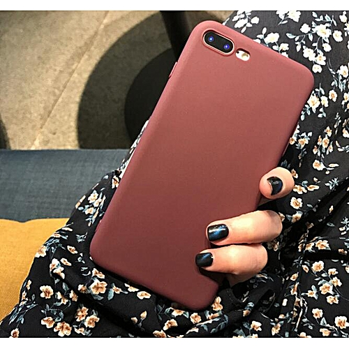brand new 61da0 3a395 for iPhone 7 Plus case Matte Phone Case iPhone iPhone Simple Solid Soft TPU  Cases Back Cover-Wine red