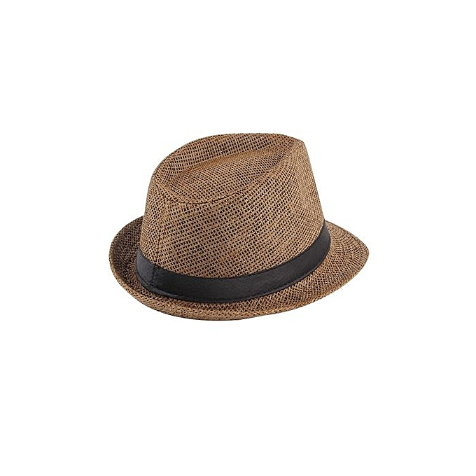 a82c36263 Unisex Fedora Trilby Hat Cap Straw Panama Style Packable Travel Sun Hat