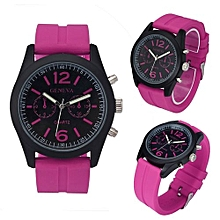 Olivaren Geneva Fashion Unisex Silicone Analog Quartz Wrist Watch HotHot Pink