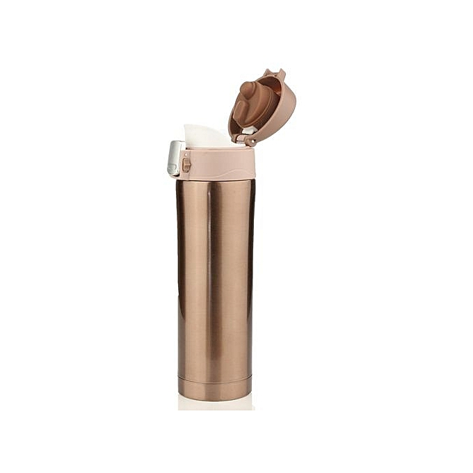 286351cb275 500mL Travel Mug Tea Coffee Water Vacuum Cup Bottle Stainless Steel Thermos  Cup Gold