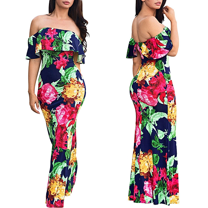 7f906305c7 Hiaojbk Store Women Floral Long Maxi Dress Evening Party Summer Beach  Sundress-Multicolor