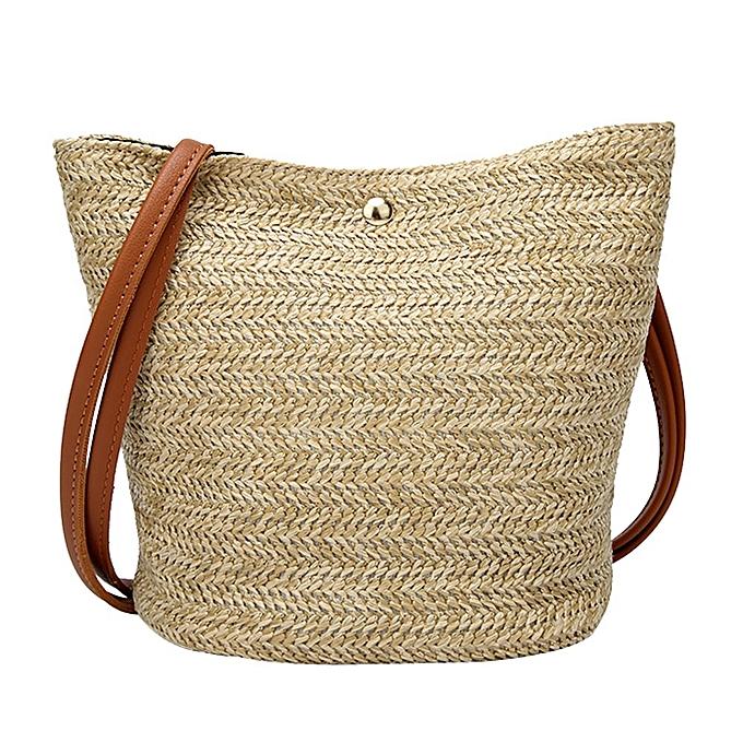 f777a3230b4 Fashion Women Casual Shoulder Bag Straw Bags Woven Bucket Bag Handbag