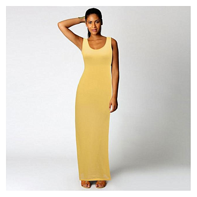 5f1e01beaf7c Hiaojbk Store Sexy Womens Summer Boho Long Maxi Evening Party Cocktail  Dress Beach Dresses-Yellow ...