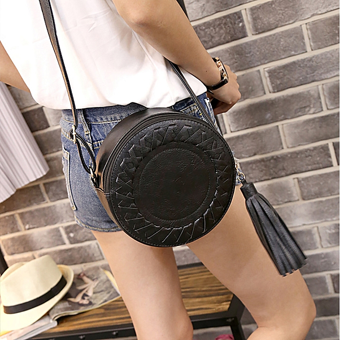 a95893423 Woman Round Casual One-shoulder Adjustable Braided Tassel Small Round Bag