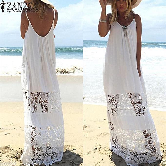 b0337381a222 ZANZEA Women Lace Dress Summer Casual Loose Long Maxi Dress Beach Dresses  Sleeveless Solid Vestidos Plus