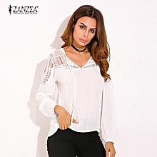 ZANZEA Autumn Shirts  Women Casual Loose Patchwork Lace Crochet Blouses V Neck Long Sleeve Tee Tops S-5XL (White)