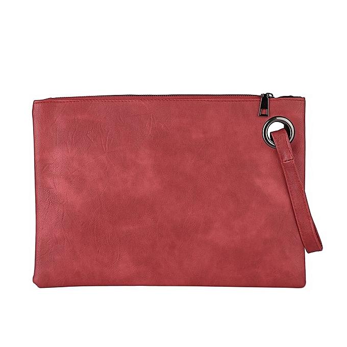 c2b9692c6f Fashion Feminine Solid Leather Clutch Bag Envelope Evening Bag Handbag red