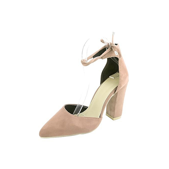 ec91c57de16 Bliccol High Heel Shoes Women Solid Color Pointed Shoes Thick Heel Suede  High Heeled Shoes Sandals