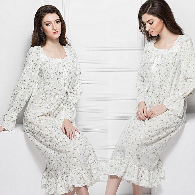 965841be Soft Comfortable Women Girls Floral Nightgown Dress Long Sleep Nightwear