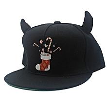 Little Devil Horns Baseball Cap Fashion Hip Hop Snapback Unisex Flat Brim Hat For Christmas Halloween Models:Adult Size Colour:Stocking