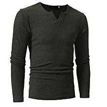 bluerdream-Man's Autumn Winter Casual V-Neck Men's Slim Sweaters Tops Blouse  -Dark  Gray
