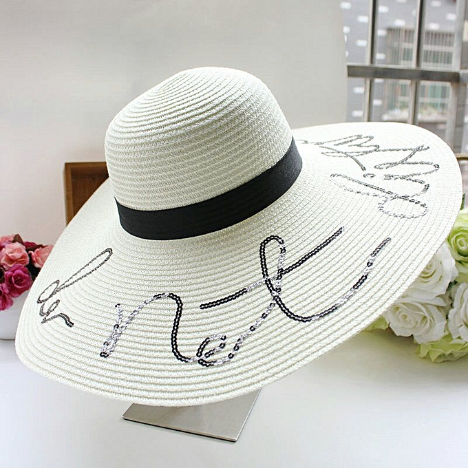 5ca41ed7 Summer Large Brim Sun Hats For Women Fashion Sequins Letter do not disturb  Embroidery Folded Floppy