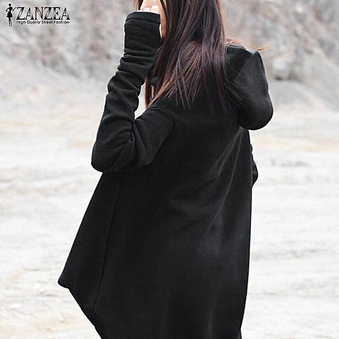 395f6291f1 ... ZANZEA Vintage Vestido Hooded Long Sleeve Irregular Hem Leisure Stylish  Female Autumn Oversized Long Sweatshirt Dress ...