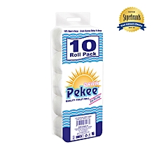 Pekee 2 Ply Unwrapped White Toilet Tissue - 10 Pack