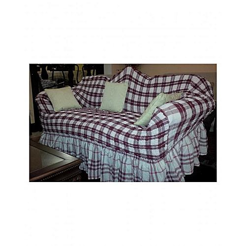 Sofa Seat Covers One Size Fits All Checked Red