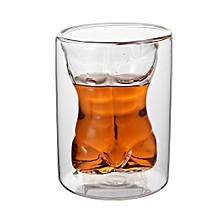 Unique Double Layer 150ml Naked Male Body Muscle Glass Cup Drinking Mug