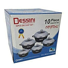 Non-Stick Cooking Pots - 10 Pieces - Black