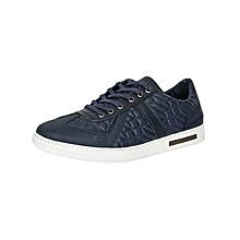 Blue Men's Pure Leather Sneakers