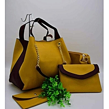 4-in-1 Faux Leather Handbag- Yellow