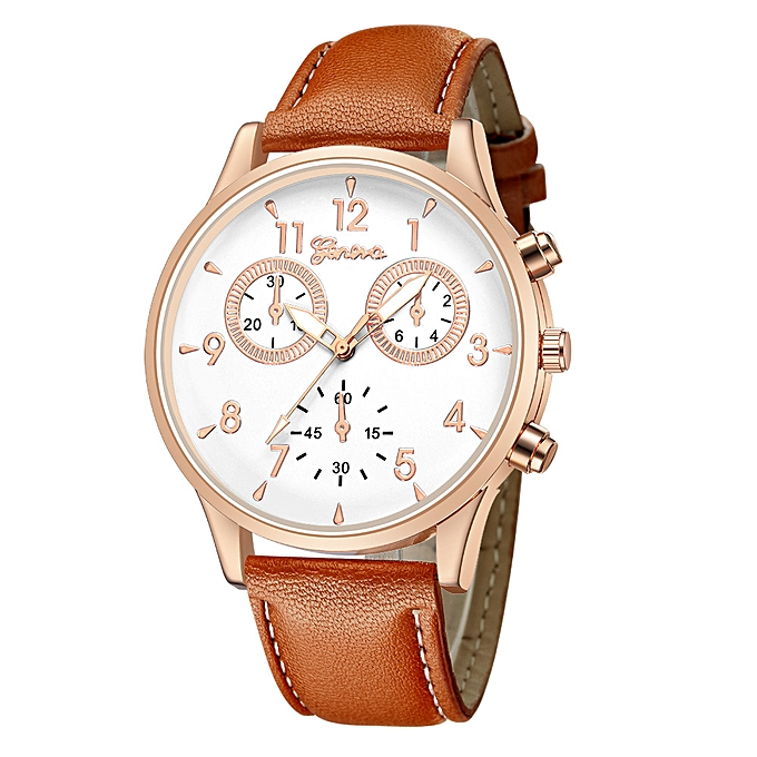 c44491f606 tissiue Fashion Men s Leather Military Casual Analog Quartz Wrist Watch  Business Watches -Brown