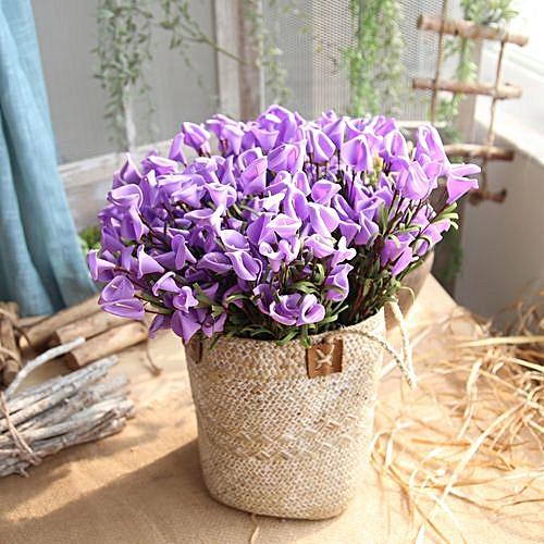 Fashion Artificial Fake Flower Leaf Calla Lily Floral Wedding Bouquet Party Home Decor C Purple