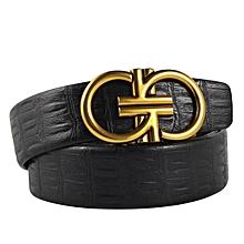 Men's Belts Melon Seeds Grain Leather Belt With Automatic Buckle-black