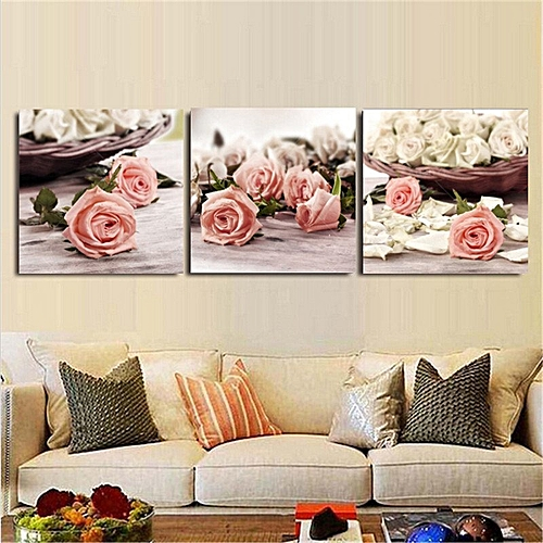 40x40cm 3 Piece Modern Wall Painting Canvas Pictures Rose Flowers Home Decor No Frame My