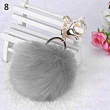 Women's Fashion Solid Color Fluffy Ball Keychain (Gray)