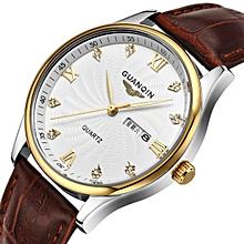 GUANQIN Quartz Men's Watch Calendar Date Diamonds 30M Waterproof Leather Watch  (Brown)