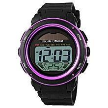 1096E Brand Solar Energy Men Sports Watches Multifunctional Outdoor Water Resistant Digital Wristwatches - Purple