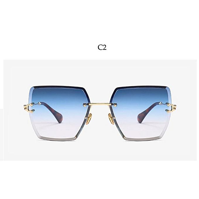 26d6fda00 Crystal Square Rimless Sunglasses Gradient Lens Transparent Clear Sun  Glasses For Women Luxury Vintage Brand Big