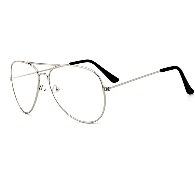 cb542630166 ... Women Men Big Round Metal Frame Clear Lens Retro Geek Glasses  Eyeglasses Eyewear Silver