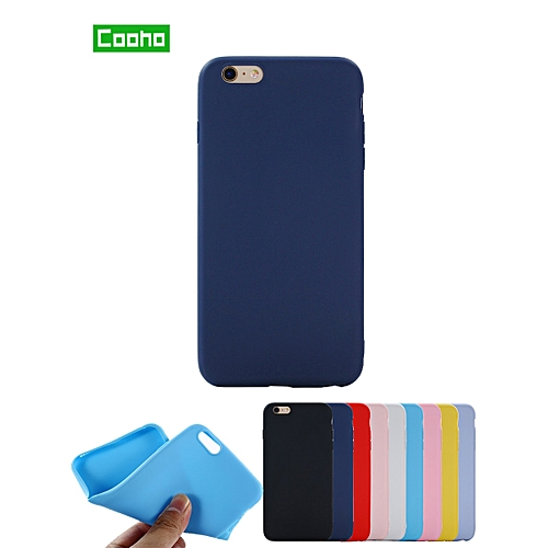 premium selection 3e259 c34b9 COOHO iPhone X/8/8 Plus/7/7 Plus/6S/6S Plus/6/6 Plus Phone Cover Solid  Color Simple Mobile Phone Case IPHONE 8 sky blue