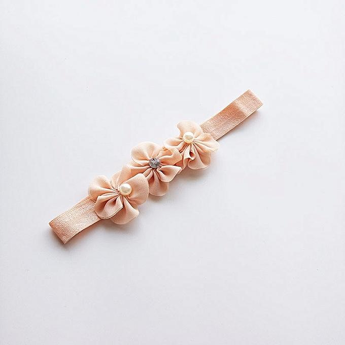 New Children s hair band light orange flower children s hair band cute  fashion elastic hair band d1f64ed7033