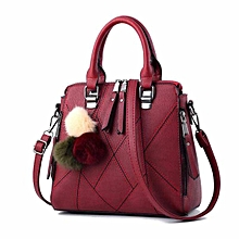 Maroon PU Leather Small Tote Bag