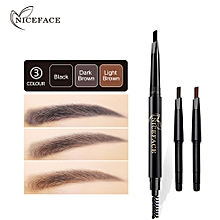 Waterproof Eye Brow Eyeliner Eyebrow Pen Pencil With Brush Makeup Cosmetic C - Black