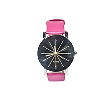 Ladies Quartz Leather Wrist Watch -Pink