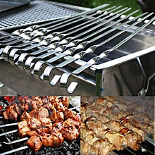 45CM 6PCS BBQ Barbecue Grilling Kabob Kebab Flat Skewers Needle Stainless Steel