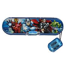 Avengers Plastic Pencil Case + Sharpener - Blue